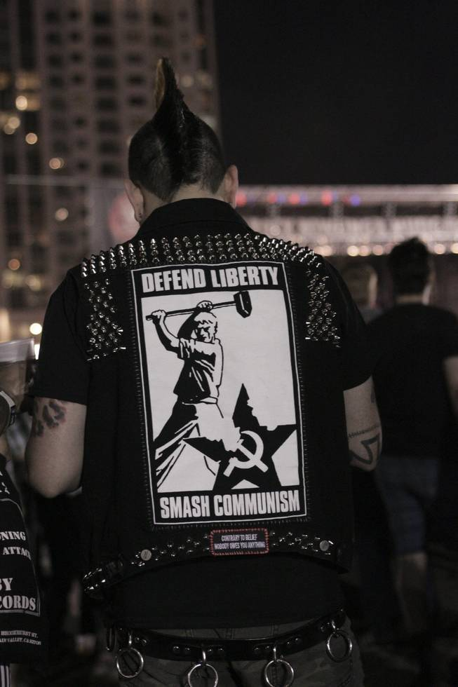 A fan with a mohawk and a customized vest at the Punk Rock Bowling & Music Festival, Sunday, May 26, 2013.