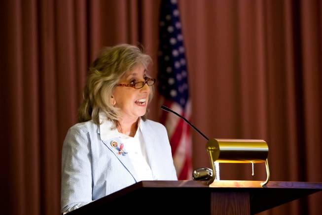 Rep. Dina Titus gives a memorial tribute during the 48th Annual Memorial Day Service at the Palm Downtown Mortuary and Cemetery in Las Vegas, Monday, May 27, 2013.
