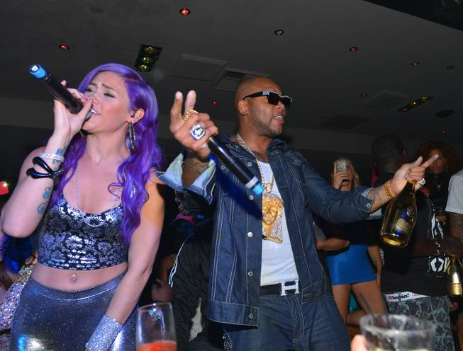 Flo Rida, right, with StayC, hosts and performs at 1OAK ...