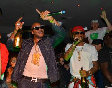 Flo Rida, left, with Future, hosts and performs at 1OAK in The Mirage on Sunday, May 26, 2013.