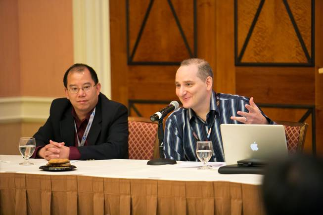 Professional Poker Player Andrew Bloch speaks about his experiences on the MIT Blackjack Team during a panel discussion during the 15th International Conference on Gambling and Risk Taking, Tuesday May 28, 2013.