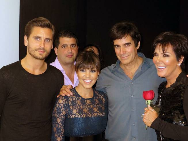 Scott Disick, a friend, Kourtney Kardashian, David Copperfield and Kris Jenner at Copperfield's show at MGM Grand on Sunday, May 26, 2013.