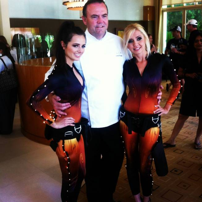 Charlie Palmer and wine angels in new uniforms at his Aureole in Mandalay Bay on Thursday, May 23, 2013.