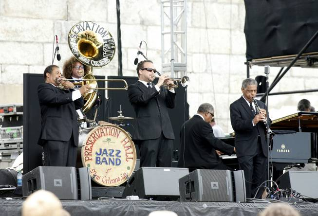 The Preservation Hall Jazz Band performs at the Newport Folk Festival in Newport, R.I. on Saturday, July 28, 2012.