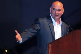 Inductee Dana White delivers his speech during the induction ceremony for the Southern Nevada Sports Hall of Fame Friday, May 31, 2013, at the Orleans Arena.