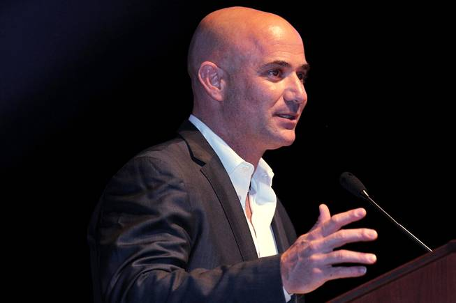 Inductee Andre Agassi speaks during the induction ceremony for the Southern Nevada Sports Hall of Fame on Friday, May 31, 2013, at The Orleans Arena.