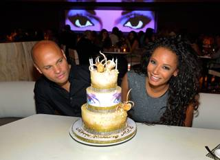 Mel B, with husband Stephen Belafonte, celebrates her 38th birthday at Andrea's in Encore on Saturday, June 1, 2013.