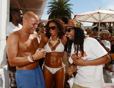 Mel B and husband Stephen Belafonte celebrate her 38th birthday at Encore Beach Club on Saturday, June 1, 2013. Lil Jon is at right.