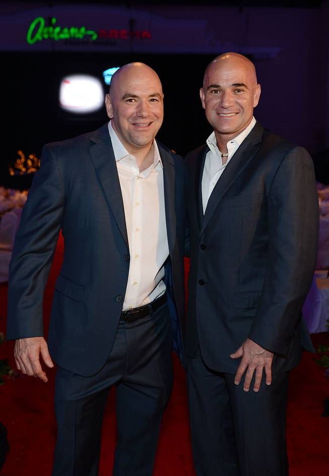 Inductees Dana White and Andre Agassi attend the induction ceremony for the 2013 Southern Nevada Sports Hall of Fame at The Orleans Arena on Friday, May 31, 2013.