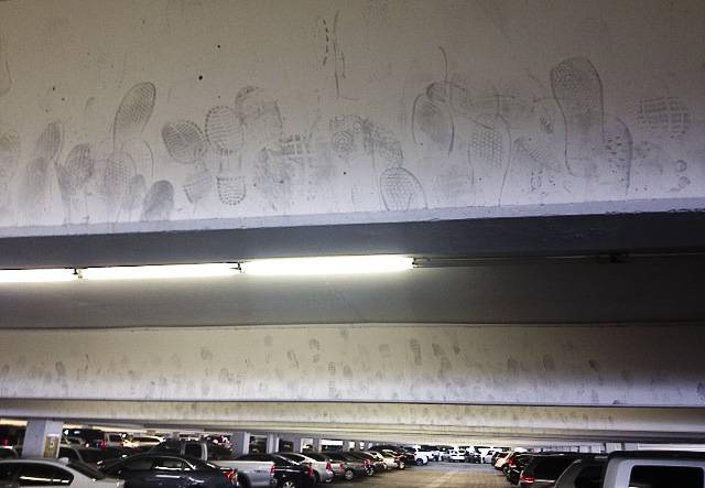 Take a walk through the parking garage of Caesars Palace and look up — you'll find a surprise: thousands of mysterious shoe prints left by passers-by hoping to leave their mark on the property. There doesn't seem to be an answer for how the this bizarre copycat phenomenon started, but its presence among most Strip garages is undeniable.