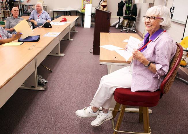Ruth Elliott, 92,  teaches a parapsychology course to seniors at the Osher Lifelong Learning Institute at UNLV Paradise campus in Las Vegas on Wednesday, June 5, 2013.
