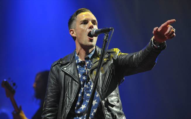 "Brandon Flowers of The Killers performs on the ""Battle Born"" tour at Los Angeles Memorial Sports Arena on Thursday, May 2, 2013, in Los Angeles."