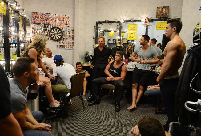 Chippendales and guest host Ian Ziering, center, backstage at The ...