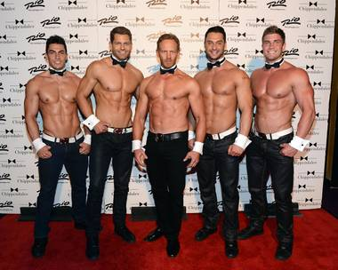 Chippendales stars Jon Howes, Jaymes Vaughan, guest host Ian Ziering, James Davis and Gavin McHale at The Rio on Saturday, June 8, 2013.