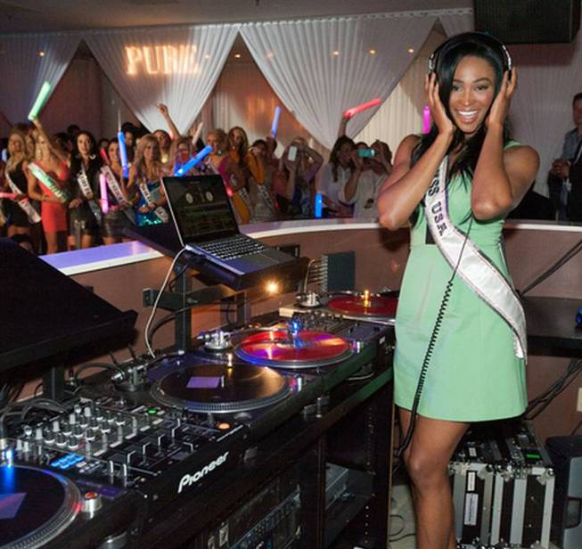 2012 Miss USA Nana Meriwether at Pure in Caesars Palace ...