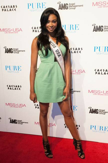 2012 Miss USA Nana Meriwether arrives at Pure in Caesars ...