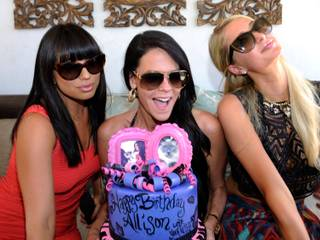 LAS VEGAS, NV - JUNE 08:  (L-R) Cheryl Burke, Allison Melnick and Paris Hilton attend Melnick's birthday celebration at Daylight Beach Club at the Mandalay Bay Resort & Casino on June 8, 2013 in Las Vegas, Nevada.  (Photo by David Becker/WireImage)