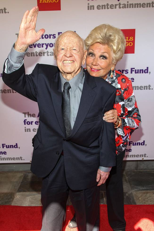 Actors Mickey Rooney and Mitzi Gaynor attend The Actors Fund 17th Annual Tony Awards Viewing Party held at Taglyan Cultural Complex on June 9, 2013 in Hollywood, California.