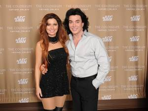 Shania Twain and Frank Marino backstage at The Colosseum in Caesars Palace.
