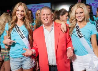 The 2013 Miss USA Pageant contestants at The D Hotel in Downtown Las Vegas on Friday, June 7, 2013. Hotel owner Derek Stevens, pictured here with Miss Michigan USA 2013 Jaclyn Schultz and Miss Nevada USA 2013 Chelsea Caswell, posed for photographs with the beauty queens.