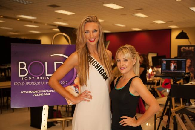 Miss Michigan USA 2013 Jaclyn Schultz and Kamela Brewer of Bold Body Bronzing based in Las Vegas.