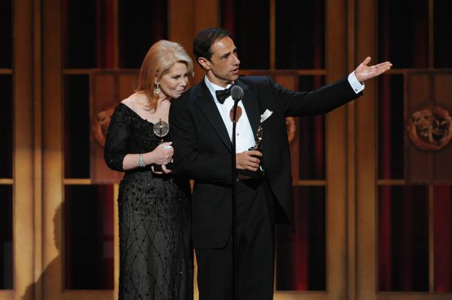 """Kinky Boots"" producers Daryl Roth, left, and Hal Luftig, right, accept the award for Best Musical, at the 67th Annual Tony Awards, on Sunday, June 9, 2013 in New York."