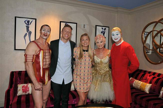 "Rapper Mackelmore and his fiancee went backstage after a recent performance of ""O."""