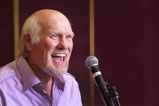NFL legend Terry Bradshaw rehearses for his stage show at the SIR Studios Wednesday, June 12, 2013. Bradshaw will star in