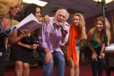 "NFL legend Terry Bradshaw rehearses for his stage show at SIR Studios on Wednesday, June 12, 2013. Bradshaw will star in ""A Life In Four Quarters"" at The Mirage. With Bradshaw, from left, are Lily Arce, Amanda Avila, Sarah Jessica Rhodes and Maren Wade."