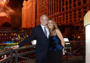Caesars Palace President Gary Selesner and Caesars Palace headliner Celine Dion attend the closing-night party for IPW 2013 at Garden for the Gods pool at Caesars Palace on June 12, 2013, in Las Vegas.