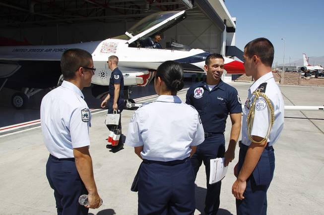 SSgt. Nathan Santiago talks to members of the Palo Verde Junior ROTC program June 13, 2013 at Nellis Air Force Base.