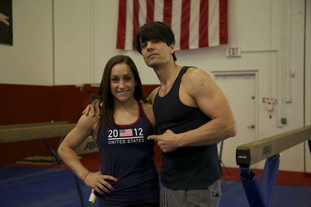 Criss Angel prepares for his next feat of magic with his trainer, Olympic gold medalist Jordyn Wieber.