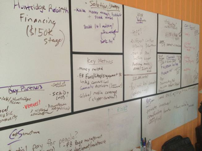 A to-do board lists the tasks facing volunteers who are banding together behind the effort to save the Huntridge Theater.