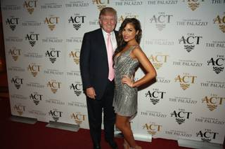 Donald Trump and Miss Universe Olivia Culpo on the red carpet at The ACT Nightclub.