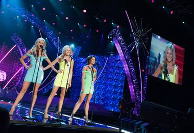 Miss Nebraska USA 2013, Ellie Lorenzen; Miss Nevada USA 2013, Chelsea Caswell; and Miss New Hampshire USA 2013, Amber Faucher; rehearse at PH Live in Las Vegas, Nevada on Saturday June 15, 2013.  The contestants are competing for the title of Miss USA 2013 and the coveted Miss USA Diamond Nexus Crown which will be decided LIVE on NBC starting at 9:00 PM ET on June 16th, 2013 from PH Live.. HO/Miss Universe Organization L.P., LLLP.