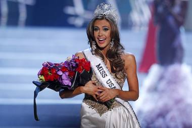 Miss Connecticut Erin Brady reacts after being crowned during the Miss USA pageant at Planet Hollywood Sunday, June 16, 2013.