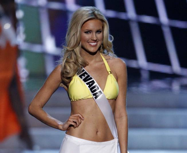 2013 Miss Nevada USA Chelsea Caswell is seen during the swimsuit portion of the 2013 Miss USA Pageant on Sunday, June 16, 2013, at Planet Hollywood.
