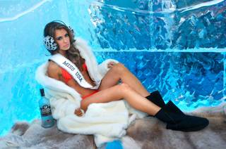 2013 Miss USA Erin Brady prepares at Minus 5 Ice Bar in Mandalay Bay on June 17, 2013, for the 2013 Miss Universe Pageant, which is Nov. 9 at Crocus City Hall in Moscow, Russia.