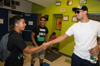Afrojack kicks off Electric Daisy Carnival Week in Las Vegas by visiting the Boys & Girls Clubs of Las Vegas' James Clubhouse for the youth member's DJ class on  June 18, 2013 in Las Vegas, Nevada.