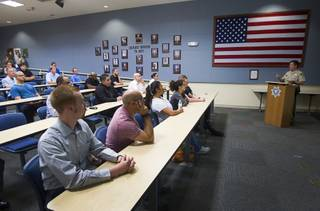 Metro Police Deputy Chief Gary Schofield gives a presentation to potential recruits, media and politicians during a tour of the Metro Police training facility Wednesday, June 19, 2013. With the recent passage of the