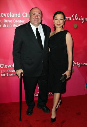 "James Gandolfini arrives with his wife Deborah Lin at the Keep Memory Alive 16th Annual ""Power of Love Gala"" honoring Muhammad Ali with his 70th birthday celebration Saturday, Feb. 18, 2012, at MGM Grand Garden Arena."