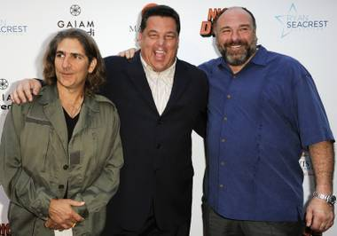 "From left, Michael Imperioli, Steve Schirripa, and James Gandolfini arrive at the LA premiere of ""Nicky Deuce"" at the ArcLight Hollywood on Monday, May 20, 2013 in Los Angeles."