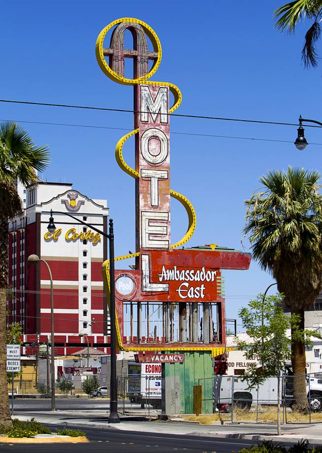 A view of the Ambassador East Motel sign on East Fremont Street Wednesday, June 20, 2013. The motel was demolished in 2007 but the sign will be part of the neon museum collection.