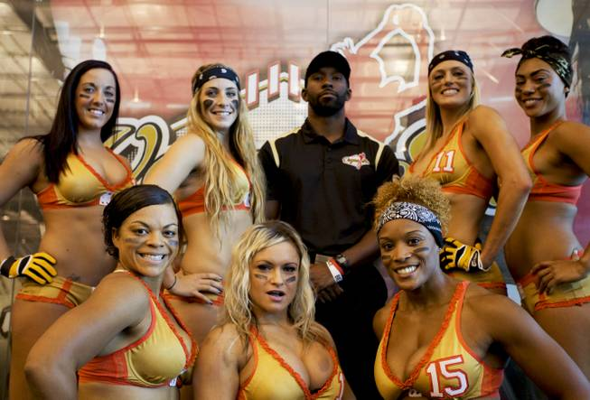 The Las Vegas Sin football team poses for a photo during media day.