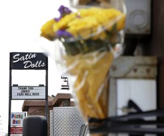 Flowers are displayed as memorial to actor James Gandolfini outside Satin Dolls, the club known as the Bada Bing Club on the HBO series