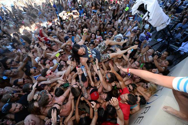 Steve Aoki at Wet Republic in MGM Grand on Friday, ...