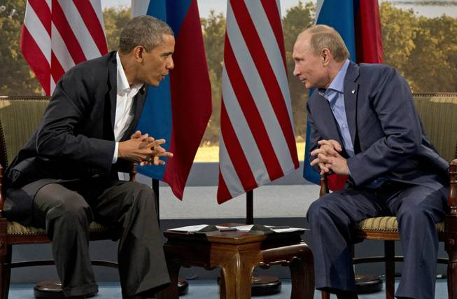 President Barack Obama meets with Russian President Vladimir Putin in Enniskillen, Northern Ireland, Monday, June 17, 2013. Putin, skilled at keeping several steps ahead of his adversaries, announced that he would not retaliate in kind against the Obama administration for imposing new sanctions and expelling Russian diplomats from the United States.