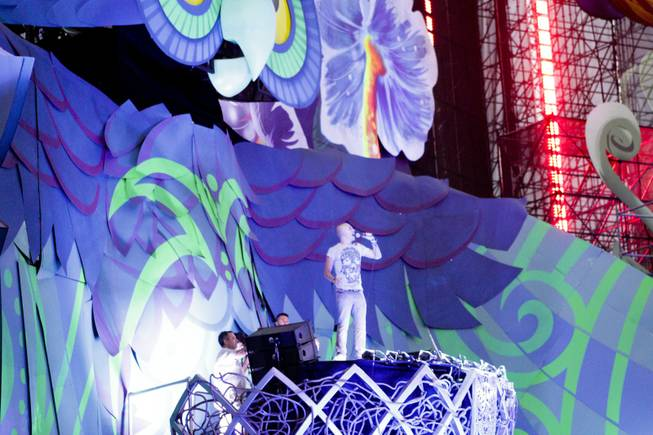 Last act, Headhunterz, addresses the crowd at the Electric Daisy Carnival Festival, EDC, at the Las Vegas Motor Speedway, Sunday morning, June 23, 2013.