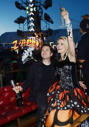 Pasquale Rotella and Holly Madison at the 2013 Electric Daisy Carnival at Las Vegas Motor Speedway on Sunday, June 23, 2013.