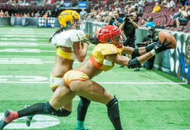 The Las Vegas Sin defeat The Green Bay Chill 40-32 at The Orleans Arena in Las Vegas on Saturday, June 22, 2013.